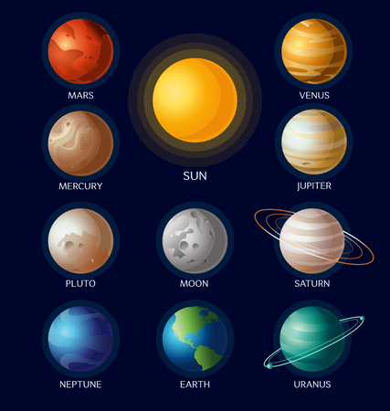 Vector illustration of solar system objects all planets with names and Sun on dark blue background in flat cartoon style. Illustration