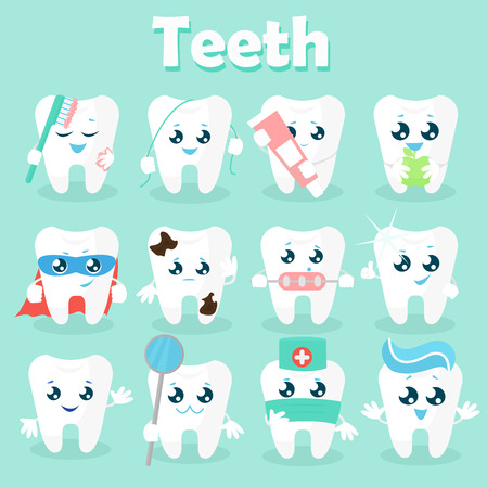 Set of funny icons of teeth. Vector illustration on a blue background. Concept of children s dentistry. Excellent dental card. Cute character. Caries prevention. Vettoriali