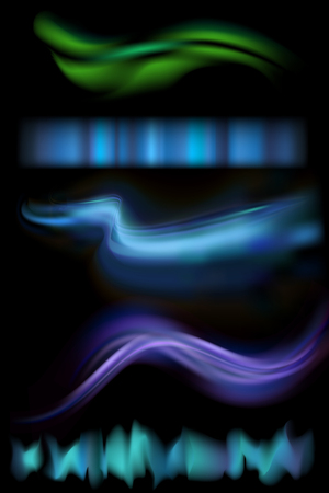 astral: Vector illustration of northern aurora lights strips. Set of rare natural lighting phenomenon aurora borealis on black background.