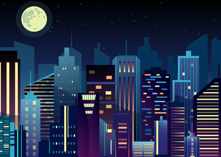 Vector illustration of night urban city landscape. Big modern city with skyscrapers in night time with lights in abstraction flat cartoon style.