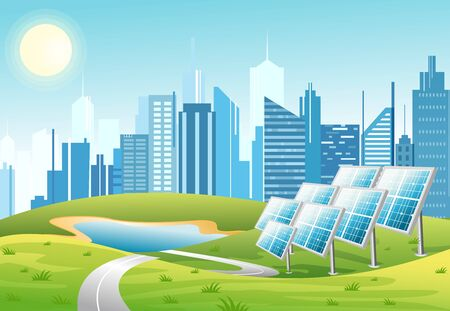 Vector illustration of solar power panels with sun and urban city skyscrapers skyline on green turquoise background. Eco green city theme. Ecological energy concept in flat cartoon style. Illustration