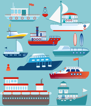 Vector illustration set of flat yacht, boat, cargo ship, steamship, ferry, fishing boat, bulk carrier, vessel, boat, cruise ship on blue background concept.