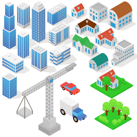 Industrial based on isometric projection of a three-dimensional houses, buildings, cranes, cars and other design elements necessary creative designers for web projects vector illustration in flat style.