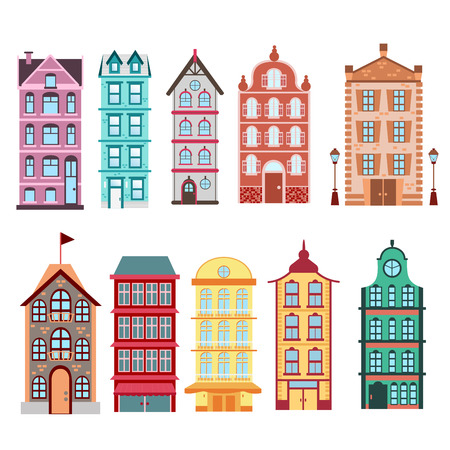 Colorful and bright Amsterdam, dutch city s houses set on white background Vector illustration in flat style. Ilustração