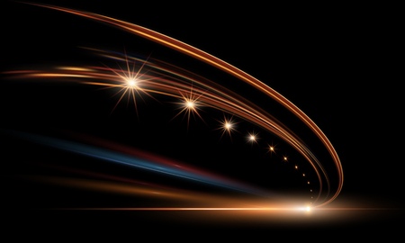 Vectorillustratie van dynamische lichten in dark. Hoge snelheidsweg in nachttijdabstractie. Achtergrond van de de slepenmotie van de stadswegauto de lichte.