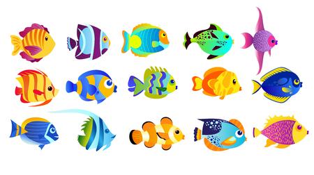 vector illustration ensemble de couleurs vives poissons tropicaux isolé sur fond blanc dans le style de bande dessinée plat