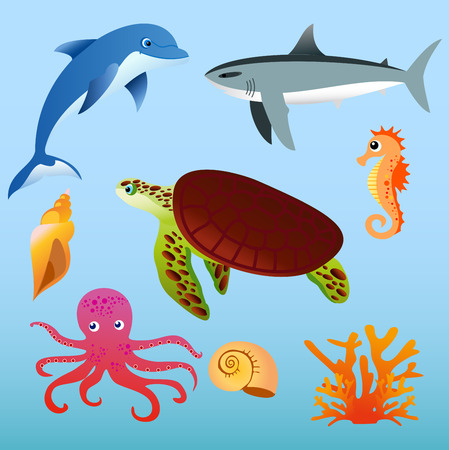 clown fish: Vector illustration set of sea animals on light blue color background in flat cartoon style.