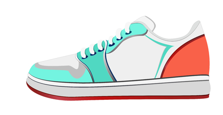 Vector illustration of sport shoe. Bright colorful Sport sneakers symbols in flat style. Illustration