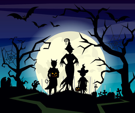 calabaza caricatura: Vector illustration of Halloween background with silhouettes of children trick in Halloween costume on dark blue night sky. Halloween postcard in flat cartoon style.