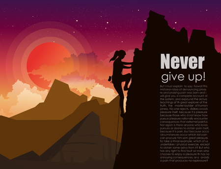 Vector illustration of mountain climbing woman on the mountains rock on sunset sky with stars and clouds background in flat style. Motivation concept in flat style with place for text.