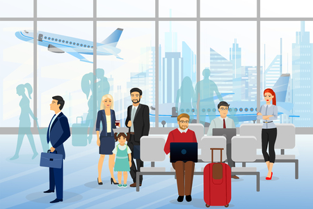 Vector illustration of men and wemen, children in airport, business people sitting and walking in airport terminal, business travel concept with plane on background. Flat style design.
