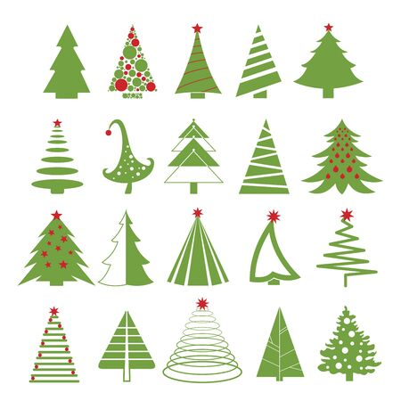 Vector illustration set of christmas trees in red and green colors on white background. Flat style. Illustration