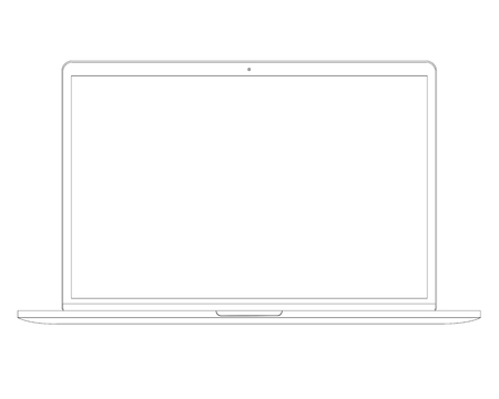 Vector illustration in line style Laptop Computer PC with space for your message on white screen. Vettoriali