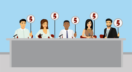 Vector illustration of professional competition judges jury holding tablets with estimates in flat style.