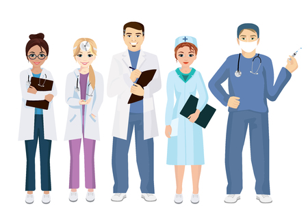 Vector illustration of team doctors on a white background in flat style. Woman and man doctors.