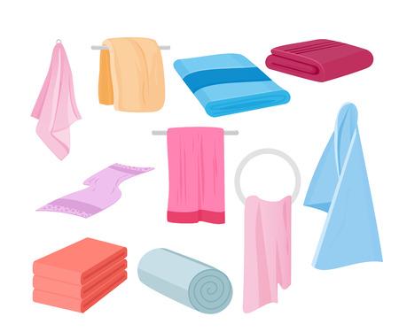 Vektor-Illustration von Handtücher Vektor-Set. Stoffhandtuch für Bad, Illustration von Karikaturgewebetüchern in der flachen Karikaturart. Vektorgrafik