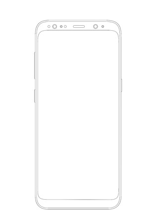 Vector illustration of outline drawing modern smartphone. Thin line style design. Vettoriali