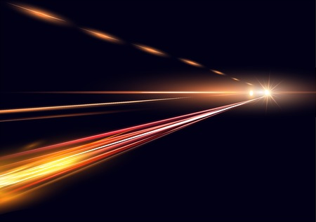 Vector illustration simulation of night traffic long exposure. High speed lights on black background.