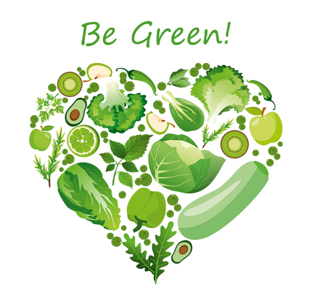 Vector illustration heart shape of green fruits and vegetables. Healthy nutrition organic concept in flat style.