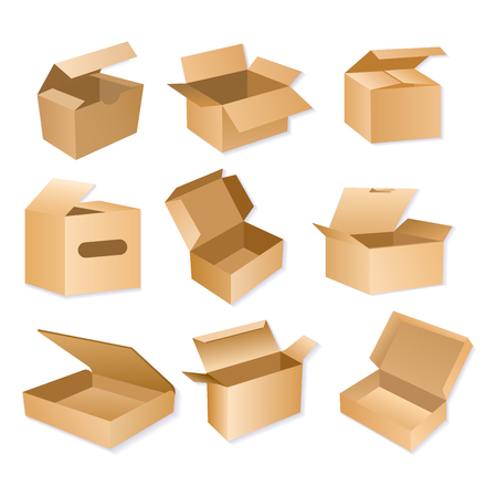 Vector illustration of carton packaging box. Realistic brown cardboard delivery packages isolated on white background.