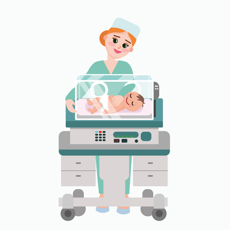 Vector illustration of pediatrician doctor with baby. Nurse examining newborn kid inside incubator box. Child care clinic in flat style.