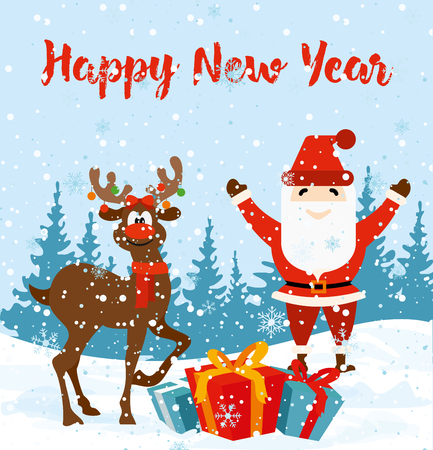 Vector illustration of Christmas greeting card with happy santa and deer in flat style.