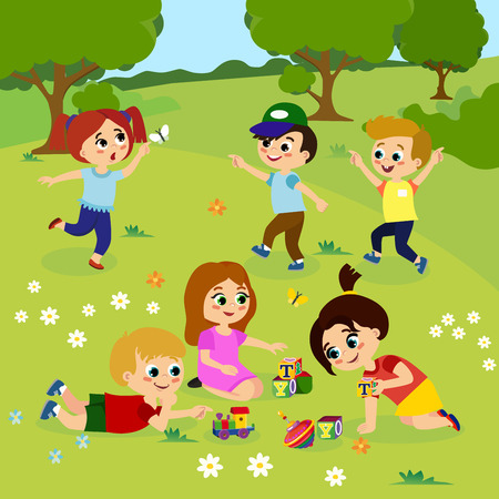 Vector illustration of kids playing outside on green grass with flowers, trees. Happy children playing on the yard with toys in cartoon flat style.