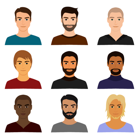Vector illustration set of male man character faces avatars in different clothes and hair styles. Man guy avatar in cartoon flat style.