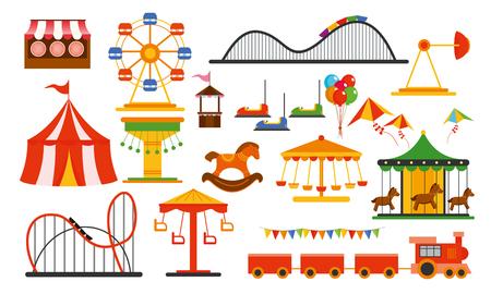 Wektor ilustracja elementy parku rozrywki na białym tle. Rodzinny wypoczynek w parku przejażdżek z kolorowym diabelskim młynem, karuzelą, cyrkiem w stylu płaskiej.