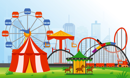 Vector illustration amusement park elements on modern city background. Family rest in rides park with colorful ferris wheel, carousel, circus in flat style.