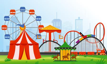 Vector illustratie pretpark elementen op moderne stad achtergrond. Familie rust in ritten park met kleurrijke reuzenrad, carrousel, circus in vlakke stijl. Stock Illustratie