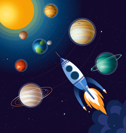 Vector illustration of rocket flying above clouds in space and between planets, spaceship on dark blue background in flat cartoon style.