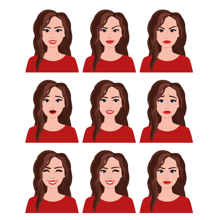 Vector illustration of woman with different facial expressions set. Emotions set on white background in flat style.