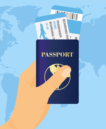 Vector illustration of hand holding passport with tickets on world map background. Concept travel and tourism.