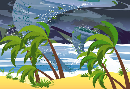 Vector Illustration of hurricane in ocean. Huge waves on the beach. Tropical natural disaster Concept in flat style.