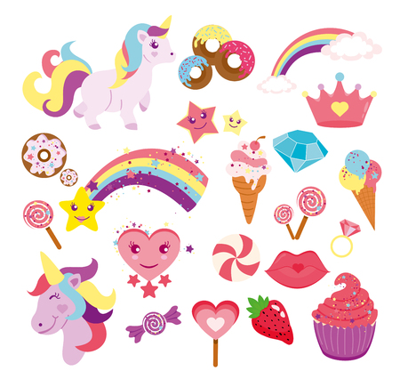 Vector illustration set of cute unicorns, star, rainbow and elements for your design in flat style. Illustration