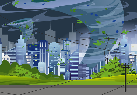 Vector Illustration tornado in modern city destroy buildings. Hurricane huge wind in skyscrapers, waterspout twister storm concept in flat style.