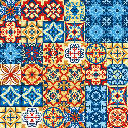 Vector illustration of decorative tile mosaic pattern design in Moroccan style. Banco de Imagens - 90907016