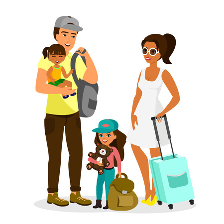 Vector illustration of young happy family with kids traveling.