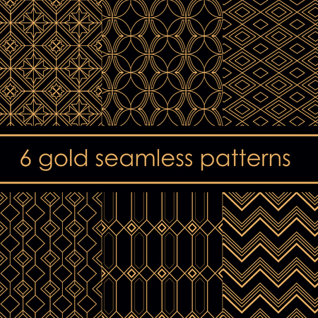 A Vector illustration set of luxury beautiful gold patterns pack. Light beige color geometric patterns on black background.