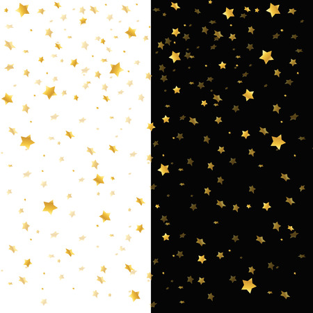 Vector illustration pattern of random falling gold stars on white and black background. Can be used for banner, greeting card, Christmas and New Year card, invitation, postcard. Illusztráció