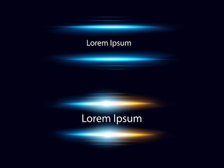 Insieme dell'illustrazione di vettore dei chiarori blu realistici dell'obiettivo su fondo scuro con il posto per testo