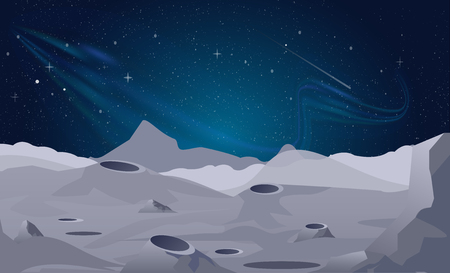 Vector illustration of Moon landscape background with beautiful night sky. Иллюстрация