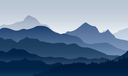 Vector illustration of morning in mountains. Mysterious landscape of forest, mountain in fog in blue colors, flat style.