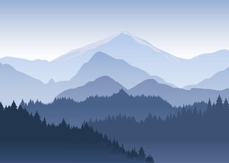 Ilustración vectorial del bosque de pinos retrocediendo en la distancia en el fondo de montañas de color azul claro en la espesa niebla.