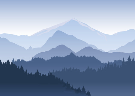 Vector illustration of the pine trees forest receding into the distance on the background of light blue mountains in thick fog.