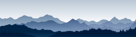 Vector illustration of beautiful panoramic view. Stock Illustratie