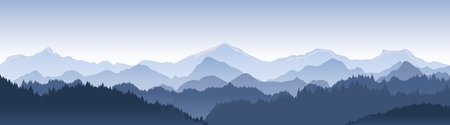 Vector illustration of beautiful dark blue mountain landscape with fog and forest. Çizim