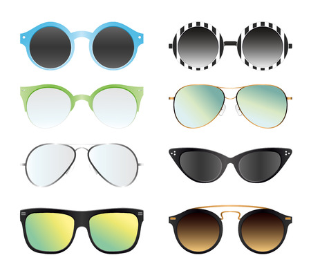 Insieme dell'illustrazione di vettore degli occhiali da sole isolati sul fondo bianco di colore. Diversi occhiali da sole estivi, in forme alla moda e vintage, diversi stili 80 ° e 90 °. Vettoriali