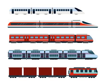 Conjunto de ilustración vectorial de trenes de pasajeros modernos. Transporte subterráneo, trenes de alta velocidad y metro. Tren de metro de estilo plano.